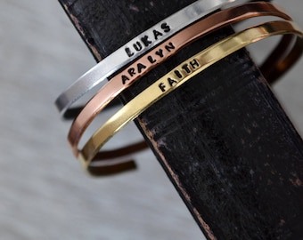 Hand Stamped Name Bracelet - Childs Name Bracelet - Personalized Stacking Bracelet - Custom Name Bracelet - Mom Bracelet - Handstamped Cuff