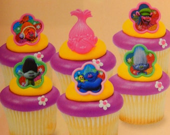24 Trolls Cupcake Cake Topper Rings Birthday Party Decoration/ Licensed