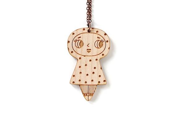 Doll pendant with dots pattern - necklace - cute jewelry - illustrated jewelry - kawaii doll jewellery - lasercut wood - lasercutting