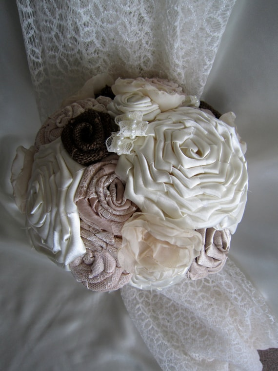 Wedding Bouquet Satin Ivory/Champagne Lace Burlap Fabric