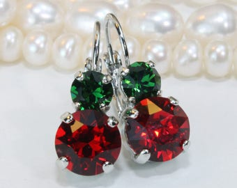 Red Green Christmas Earrings Swarovski Crystal Christmas Earrings Green Red Drop Earrings Christmas jewelery gift for woman,Silver,SE3
