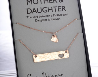 Mother Daughter Gift Mother Daughter necklace Gift for Mom Mother of the Bride Heart Necklace Mom Birthday Mommy and Me Gold Bar Necklace