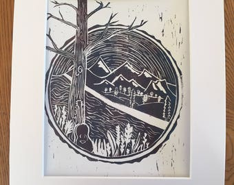 Mountain Scene Linoleum Block Print