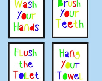 Kids bathroom wall art - Kids bathroom decor - Bathroom rules signs - PRINTABLE - Wash your hands - Brush your teeth - Flush the toilet