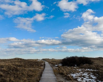 boardwalk photography clouds sky snow photography 8x10 print 11x14 print 16x20 print