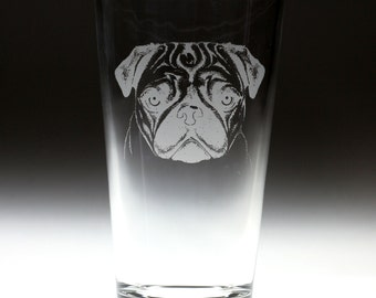 Personalized Pug dog Etched Sandblasted Pint Glass, dog gift, pug gift, christmas gift,