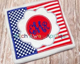 Patriotic Flag Flower Machine Applique Design