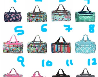 Monogrammed Print Duffel bag- chevron, elephant, arrow, baseball, whale, softball, boat, cow,cactus, 17 inch sized duffle bags
