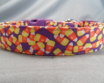 Halloween Dog Collar Candy Corn on Purple Fabric