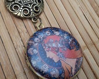 in Australia - Zodiac - Goddess or Mother Earth - Art Nouveau - vintage style round locket