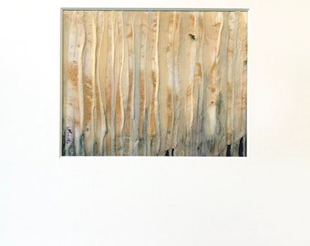 Abstract Plaster Painting in Metallic Gold, Cream,  and Purple with Acid-Free White Mat - Original Acrylic Art on Panel with Mat
