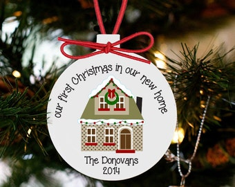First christmas in new house ornament LIGHT background - family keepsake ornament NHLO