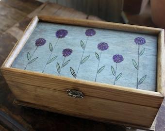 Allium Woodburned Jewelry Box