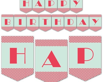 Retro 1950's Diner Themed Party Banner, Happy Birthday Banner, Instant Download, Print Your Own