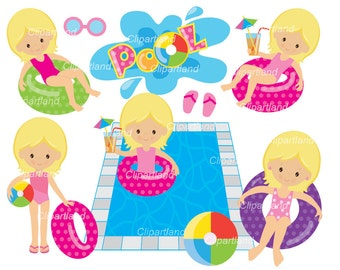 INSTANT DOWNLOAD. CP_7_pool. Pool party clip art. Personal and commercial use.