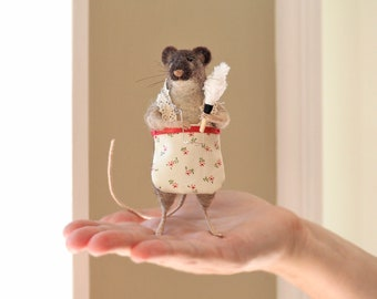 Felted Animal, Needle Felted Rat, Soft Sculpture, Miniature Rat with Apron and Feather Duster, Housewarming Gift