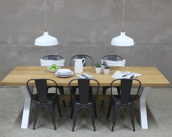 Rustic Oak Dining Table on X Frame (King's Cross)