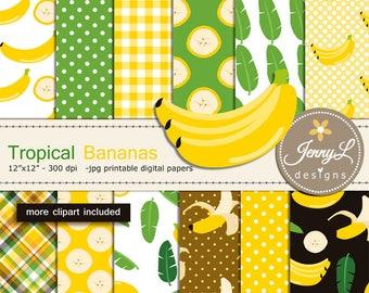 Tropical Bananas Digital Paper and Clipart SET, Summer, Birthday, Digital Scrapbooking, Planner