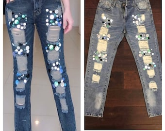 Patched Jeans /Cut Jeans/Jeans with Patches women size L
