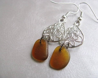 Amber Brown Sea Glass Earrings - Beach Glass Earrings - Chandelier Earrings - Drop Earrings - Ocean Jewelry Gifts from Prince Edward Island