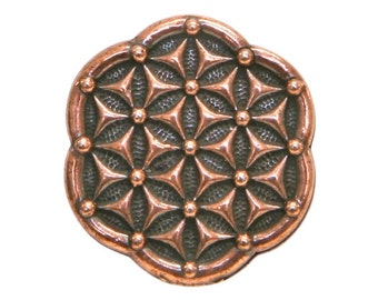 3 TierraCast Flower of Life 5/8 inch ( 16 mm ) Copper Plated Pewter Buttons