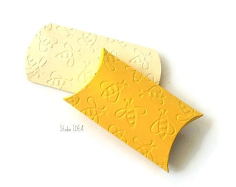 12 Yellow & Ivory-Cream Bee Embossed Pillow Boxes-Candy Box, Favor Box, Gift Box-Set of 12pcs