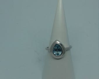 Blue Topaz and Silver Ring