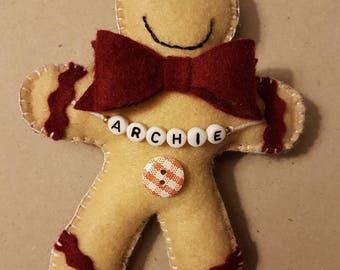 Gingerbread man decoration, personalised gingerbread man, Felt, handsewn, christmas tree decoration :-)