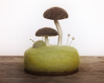 Woodland Mushrooms Toadstools Sculpture Needle Felted Wool Nature Display - Collectible Miniature Scene - Made To Order