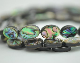 Abalone Shell Oval beads 14mm Two-Sided Paua Shell beads (V1244)/ Full strand