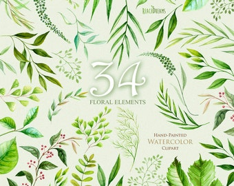 Floral Elements leaves, foliage, herbs, wedding invitation, suite, greeting card, meadow, watercolor clipart, eco botanical art, digital png