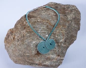 Necklace made of reclaimed zipper, 2 spirals, various colors & silver necklace