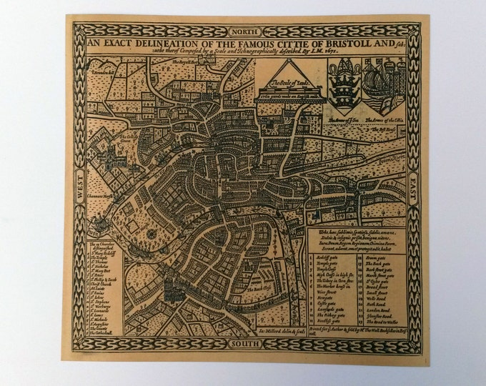 Replica Antique Map of Bristol from 1671
