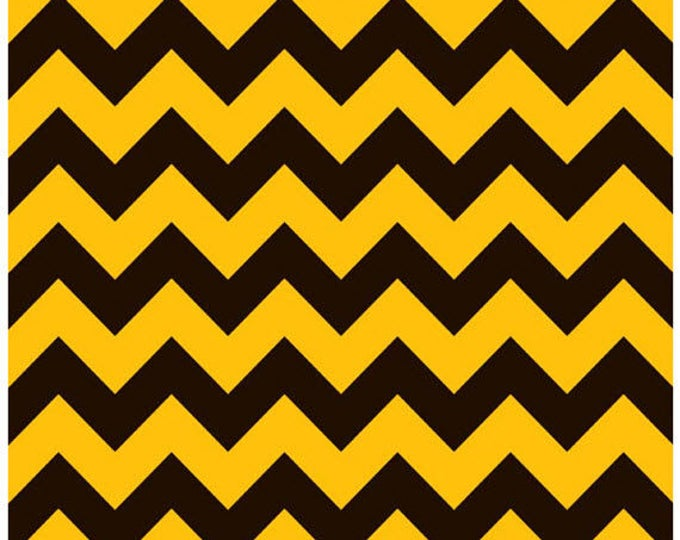 Medium Chevron - Black / Gold - Cotton Quilt Fabric - C380-01 - Riley Blake Designs Fabrics (W4290)
