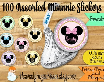 100 Chocolate kiss stickers Minnie Birthday stickers Minnie Chocolate Stickers Mouse Kisses Labels Thank you Party Favors Minni decor ideas