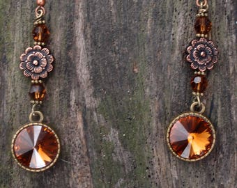 Lilly~Gift For Her/Ladies Earrings/Statement Earrings/Boho Earrings/Swarovski Earrings/Copper Earrings/Flower Earrings//Mothers Day Gift