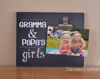 Gift For Grandparents, Personalized Photo Frame, Custom Picture Frame, Chalkboard Frame, Wood Frame, Mother's Day Present Idea, Christmas