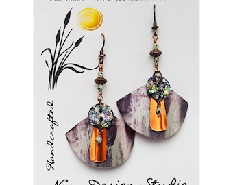 Recycled Tin Drop Dangle Earrings Fan shaped, Multilayered, Recycled buttons, Hypoallergenic Niobium Ear Wires, Waterfall Scene