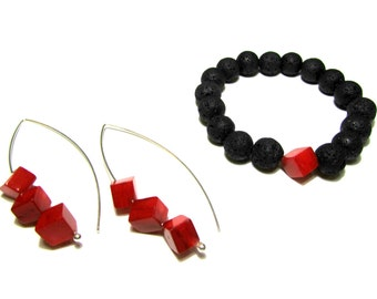 Black Lava Red Coral Jewelry Set Sterling Silver Earring Santorini Volcanic Lava Red bamboo Coral Eco Friendly Organic Handmade Greek Jewel