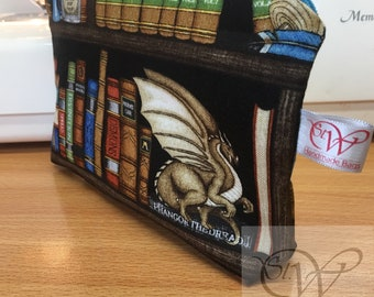 Spell Books, Magical Witch and Wizard, Dragons and Skulls Make Up Bag with a White Waterproof Lining and a choice of zip colour.