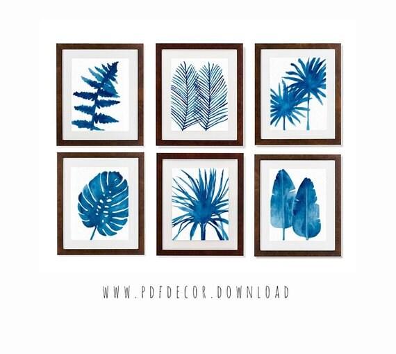 Set of 6 Printable Art, Set of 6 Prints, Tropical Print, Set of 6 Wall Art, Watercolor Art, Leaf Print, Wall Art, Set of 6 blue prints, Art