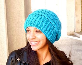 Crochet Slouchy Hat, Beehive Hat, Tam Hat, Crochet Hat, Color is Aqua,