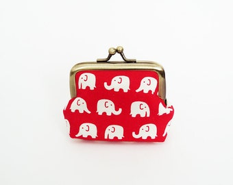 Coin purse, elephant fabric, red and white cotton elephant design, cotton purse