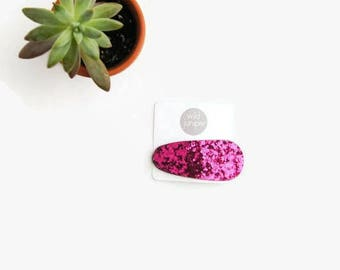 Glitter Snap Clip in Pink