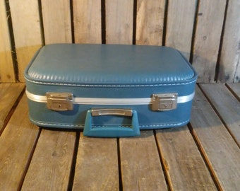 Small Blue Suitcase, Vintage Blue Luggage