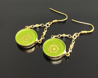 Drop Earrings, Earrings for Women, Glass Earrings, Dangle Earrings, Gift Ideas for Women, Evil Eye Jewelry, Gold Filled and Green Glass.