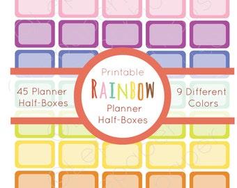 Rainbow Printable Planner Half box Sticker Set, Erin Condren Life Planner, Instant Download