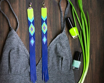 Extra Long Leather Earrings, bright tribal boho style geometric jewelry, lime and blue, chevron fashion jewelry