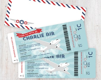 Airplane Birthday Invitation Boarding Pass and Digital Airmail Envelope Template