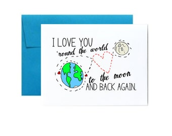 I love you to the moon and back card - blue wedding anniversary valentine's day